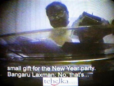 Bangaru Laxman is seen on a video grab from a hidden camera. REUTERS/Tehelka/Files