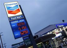 Gasoline is priced over $5 per gallon at a Chevron gasoline station in downtown Los Angeles, California March 13, 2012. REUTERS/Fred Prouser