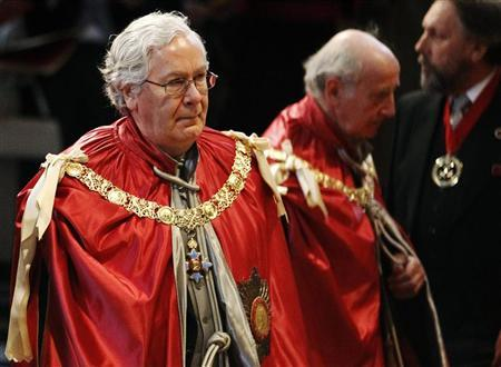 The Governor of the Bank of England Mervyn King attends a service for the Order of the British Empire, at St Paul's Cathedral in London March 7, 2012. REUTERS/Luke MacGregor