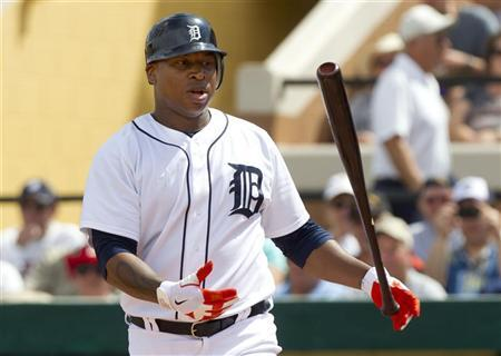Detroit Tigers' Delmon Young flips his bat after swinging for strike during the second inning of their MLB spring training game against the Atlanta Braves in Lakeland, Florida March 7, 2012. REUTERS/Scott Audette