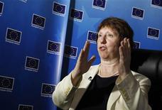 EU Foreign Policy Chief Catherine Ashton talks during an interview at the newly opened European Union Office at Yangon April 28, 2012. REUTERS/Soe Zeya Tun
