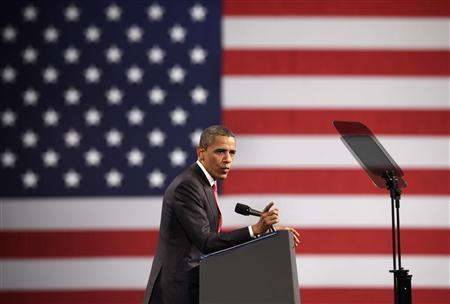 U.S. President Barack Obama speaks at a campaign event at the Washington Convention Center in Washington April 27, 2012. REUTERS/Yuri Gripas