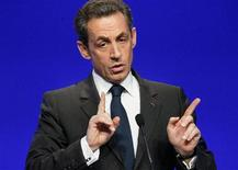 Nicolas Sarkozy, France's President and UMP party candidate for the 2012 French presidential election, delivers his speech at a political rally as he campaigns in Cournon-d'Auvergne, near Clermont-Ferrand, central France, April 28, 2012. REUTERS/Robert Pratta
