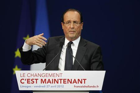 Francois Hollande, Socialist Party candidate for the 2012 French presidential election, delivers his speech during an election campaign rally in Limoges, April 27, 2012. REUTERS/Regis Duvignau