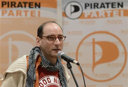 New elected political secretary Johannes Ponader of Germany's Pirate Party (Piraten Partei) addresses the media at their party convention in Neumuenster April 29, 2012. Ponader replaces Marina Weisband. REUTERS/Fabian Bimmer