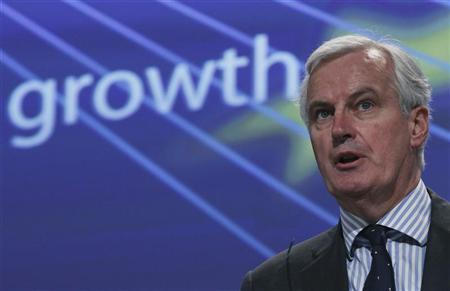 European Union's Internal Market Commissioner Michel Barnier addresses a news conference on the progress of the single market and the 2011 governance check-up report in Brussels February 27, 2012. REUTERS/Yves Herman