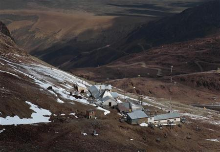 An aerial view of a base station monitoring weather and climate change is seen on the Chacaltaya mountain, which is 5300 m (17,388 ft) above sea level, located about 45 km (28 miles) north of La Paz April 16, 2012. REUTERS/David Mercado