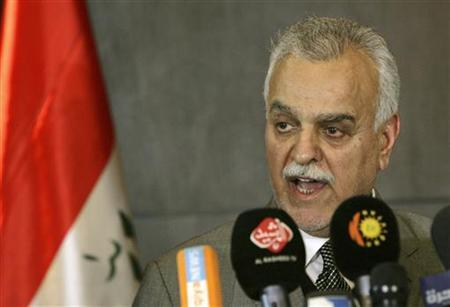 Iraq's Vice President Tareq al-Hashemi speaks at a news conference in in Arbil, about 350 km (220 miles) north of Baghdad, December 20, 2011. REUTERS/Stringer
