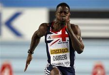 Dwain Chambers of Britain competes at the men's 60m heats the world indoor athletics championships at the Atakoy Athletics Arena in Istanbul March 9, 2012. REUTERS/Murad Sezer