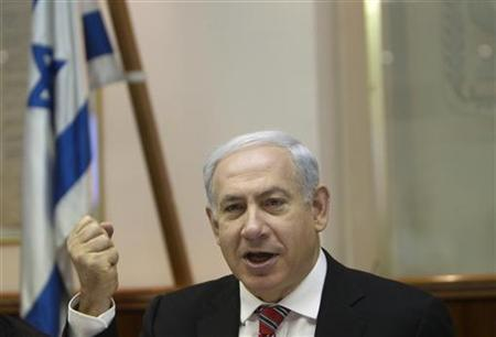 Israel's Prime Minister Benjamin Netanyahu attends the weekly cabinet meeting in Jerusalem April 29, 2012. REUTERS/Ronen Zvulun