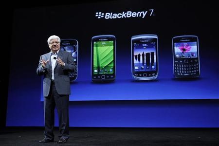 Mike Lazaridis, President and Co-CEO of Research In Motion, speaks about the line of BlackBerry 7 phones during BlackBerry's DevCon at the Moscone West Center in San Francisco, California, October 18, 2011. REUTERS/Beck Diefenbach