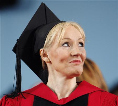 British author J.K. Rowling looks towards a speaker at the 357th Commencement Exercises at Harvard University in Cambridge, Massachusetts June 5, 2008, during which Rowling received an honorary Doctor of Letters degree. REUTERS/Brian Snyder