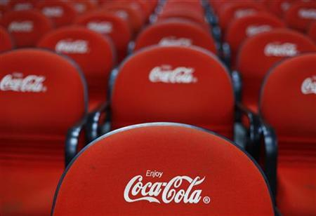 Chairs with the Coca-Cola logo are pictured in a conference room during a media tour at PT Coca-Cola Amatil Indonesia's factory in Cibitung, Indonesia's West Java province, February 24, 2011. REUTERS/Beawiharta