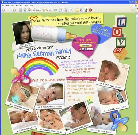 California Octuplets mom Nadya Suleman has a new Web site (www.thenadyasulemanfamily.com) shown in this screenshot taken on February 11, 2009. REUTERS/www.thenadyasulemanfamily.com