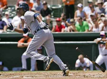 File photo of Detroit Tigers' Delmon Young in Sarasota, Florida March 30, 2012. REUTERS/Steve Nesius