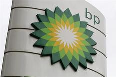 A BP logo is seen on a petrol station in London. REUTERS/Suzanne Plunkett