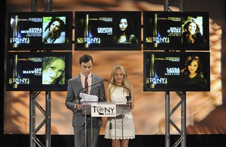 Emmy and Golden Globe winning actor Jim Parsons (L) and Tony and Emmy award winning actress Kristin Chenoweth announce the Best Performance by an Actress in a Leading Role in a Musical award during 2012 Tony Awards Nominations in New York May 1, 2012. REUTERS/Jason Szenes
