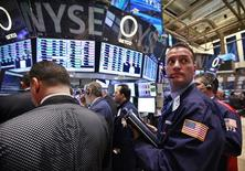 Traders work on the floor of the New York Stock Exchange, May 1, 2012. REUTERS/Brendan McDermid