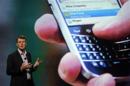Research in Motion Chief Executive Officer Thorsten Heins speaks at the BlackBerry World event in Orlando May 1, 2012 . REUTERS/David Manning