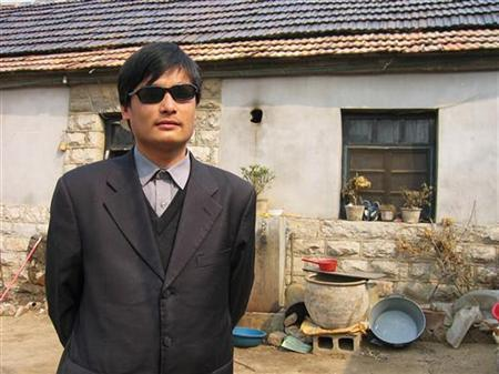 Blind legal activist Chen Guangcheng is seen in this undated handout picture. REUTERS/www.ChinaAid.org/Handout