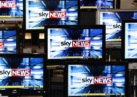 The Sky News logo is seen on television screens in an electrical store in Edinburgh. REUTERS/David Moir