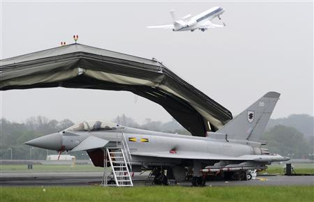 A Typhoon jet stands outside its hanger at RAF Northolt in west London May 2, 2012. REUTERS/Paul Hackett