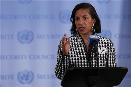 Susan E. Rice, U.S. Permanent Representative to the United Nations, speaks to the media at UN headquarters in New York, May 2, 2012.REUTERS/Lucas Jackson