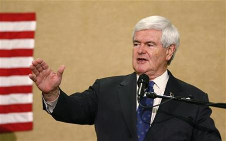 U.S. Republican presidential candidate Newt Gingrich gestures during a rally in Concord, North Carolina April 24, 2012. REUTERS/Chris Keane/Files