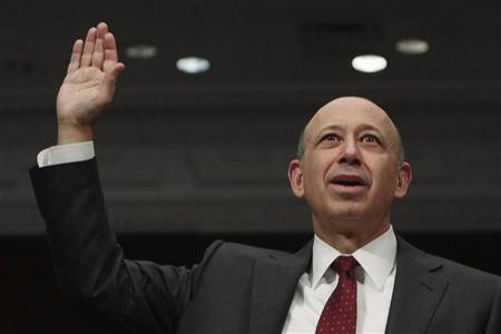 Goldman Sachs Chairman and CEO Lloyd Blankfein is sworn in before testifing at Senate Homeland Security and Governmental Affairs Investigations Subcommittee hearing on ''Wall Street and the Financial Crisis: The Role of Investment Banks'' on Capitol Hill in Washington, April 27, 2010. REUTERS/Jim Young