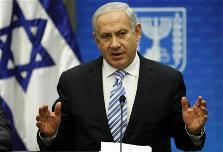 Israel's Prime Minister Benjamin Netanyahu speaks during a Likud party meeting at the Knesset, the Israeli parliament, in Jerusalem March 19, 2012. REUTERS/Baz Ratner