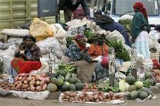 Women sell vegetables and fruits on the roadside in Nairobi, Kenya, June 19, 2008. REUTERS/Antony Njuguna
