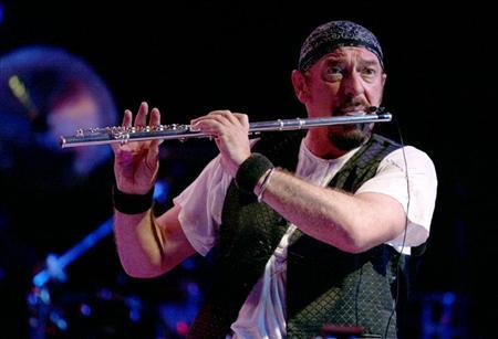 File photo of Ian Anderson, flautist and vocalist of the classic rock band Jethro Tull, performing during a rock concert at Fort Manoel in Valletta's Marsamxett Harbour August 1, 2004. REUTERS/Darrin Zammit Lupi