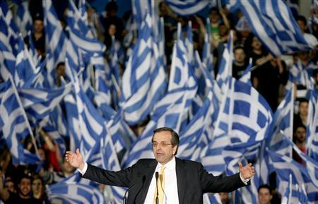 Greek conservative party leader Antonis Samaras addresses supporters during a pre-election rally in the town of Thessaloniki May 2, 2012. Greece will hold an election on May 6, with the largest number of seats expected to fall to the New Democracy party, whose leader Samaras is pledging lower taxes and to call a halt to across-the-board wage and pension cuts, expecting to make up the shortfall through better collections. REUTERS/Grigoris Siamidis
