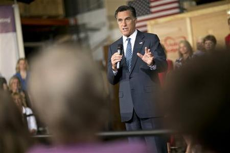 Republican presidential candidate and former Massachusetts Governor Mitt Romney speaks during a campaign event at the Exhibit Edge building in Chantilly, Virginia May 2, 2012. REUTERS/Benjamin Myers