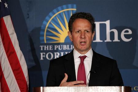 Treasury Secretary Timothy Geithner speaks at the Commonwealth Club at the Mark Hopkins Hotel in San Francisco, California, April 26, 2012. REUTERS/Beck Diefenbach