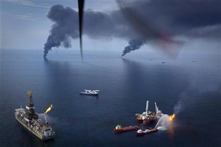 Oil is burned off the surface of the water near the source of the Deepwater Horizon spill in the Gulf of Mexico off the coast of Louisiana June 19, 2010. REUTERS/Lee Celano