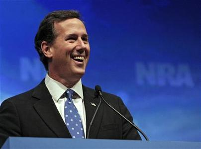 U.S. former Republican presidential hopeful Senator Rick Santorum speaks at the Celebration of American Values Leadership Forum during the National Rifle Association's (NRA) 141st Annual Meetings & Exhibits in St. Louis, Missouri April 13, 2012. REUTERS/Tom Gannam