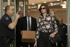 Model Linda Evangelista leaves Manhattan Family Court after facing her former beau Francois Henri-Pinault in New York May 3, 2012. REUTERS/Andrew Kelly