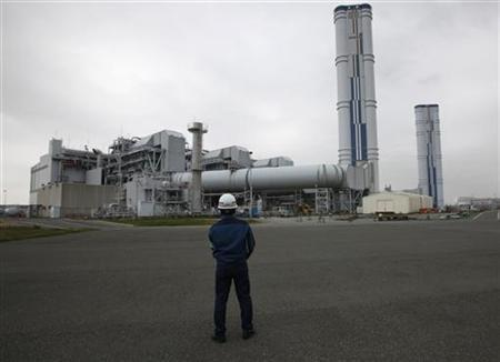 An employee of Tokyo Electric Power Company (TEPCO) looks at TEPCO's Kawasaki Thermal Power Plant in Kawasaki, south of Tokyo April 22, 2012. REUTERS/Toru Hanai