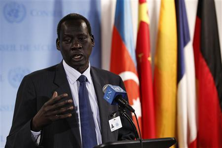 Deng Alor Kuol, the South Sudanese Minister of Foreign Affairs, speaks to the media following the passing of a United Nations Security Council resolution regarding ongoing hostilities between Sudan and South Sudan at UN headquarters in New York, May 2, 2012. The resolution was unanimously approved on Wednesday and threatens both Sudan and South Sudan with sanctions if the African neighbors fail to halt an escalating conflict and resume negotiations on disputes within two weeks. REUTERS/Lucas Jackson