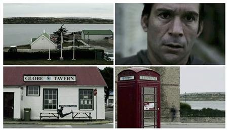 Argentine Olympics hockey player Fernando Zylberberg is seen as he exercises in front of the Globe Tavern and then runs in Port Stanley, in this combination picture made of still images taken from video shot in April 2012, and aired on Argentine government television on May 2, 2012. Argentina has risked stirring up more political controversy with Britain ahead of the London Olympics by broadcasting a video of Zylberberg training on the disputed Falkland Islands, which it describes as ''Argentine soil''. REUTERS/Argentine Government Television via Reuters TV