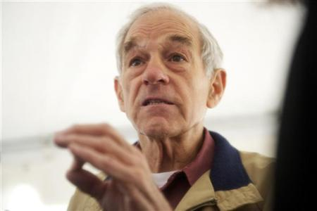 Republican presidential candidate, Congressman Ron Paul, grants press interviews after holding a rally outside Independence Hall in Philadelphia, Pennsylvania, April 22, 2012. REUTERS/Mark Makela