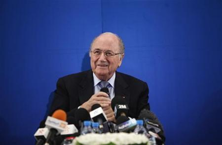 FIFA President Sepp Blatter attends a news conference in Rabat April 30, 2012. REUTERS/Stringer