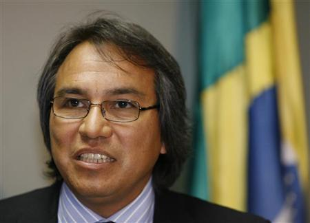 James Anaya, formerly the U.N. special rapporteur on Indians' human rights and freedoms, now James Anaya, the U.N. special rapporteur on the rights of indigenous peoples, attends a news conference in Brasilia, August 25, 2008. REUTERS/Jamil Bittar