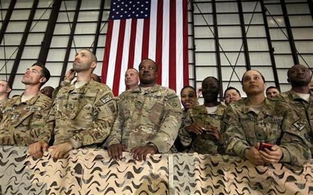 Troops at Bagram Air Base listen to U.S. President Barack Obama speak during his visit to Kabul, May 2, 2012. REUTERS/Kevin Lamarque