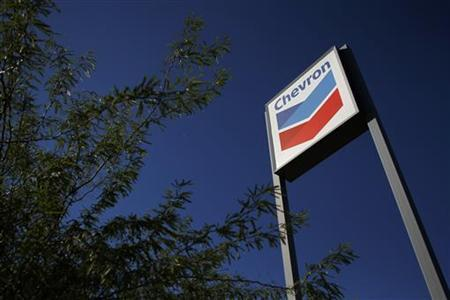 A Chevron sign is displayed at a gas station in Buckeye, Arizona October 27, 2011. REUTERS/Joshua Lott