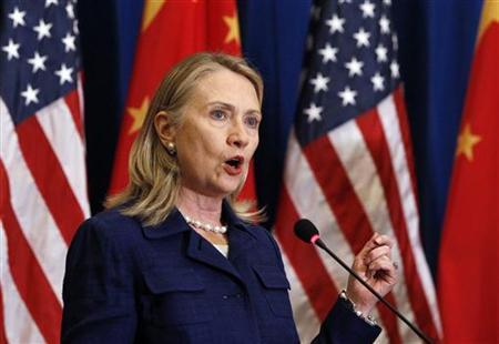 U.S. Secretary of State Hillary Clinton speaks during a news conference in Beijing May 4, 2012. REUTERS/Shannon Stapleton