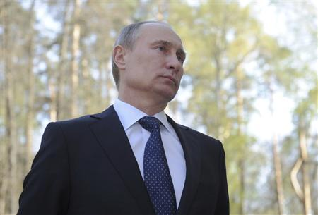 Russia's Prime Minister and President-elect Vladimir Putin talks to the media at the Novo-Ogaryovo residence outside Moscow May 3, 2012. REUTERS/Alexsey Druginyn/RIA Novosti/Pool