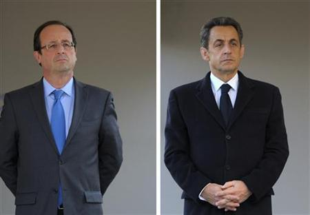 A combination of file photos, taken April 24, 2012, shows Francois Hollande (L), the Socialist party candidate for the 2012 French presidential election and Nicolas Sarkozy, France's President and UMP party candidate for his re-election, as they attend a ceremony in Paris. France's 46 million voters got to the polls on Sunday in the second round vote. REUTERS/Philippe Wojazer/Files