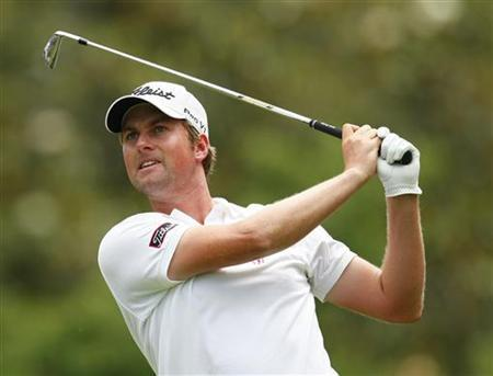 Webb Simpson of the U.S. watches his tee shot on the sixth hole during the second round of the Wells Fargo Championship PGA golf tournament in Charlotte, North Carolina May 4, 2012. REUTERS/Chris Keane